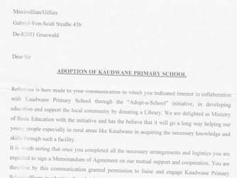 Adoption of the Kaudwane Primary School