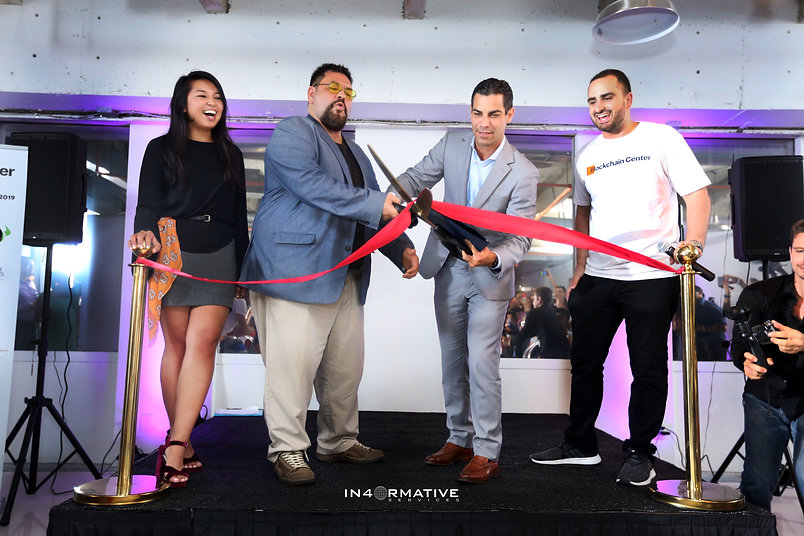 Blockchain Launch Party Ribbon CuttingEryka Gemma Nick Spanos Mayor Francis Suarez Scott Speigel