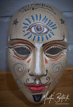 A Bill Nelson decorated mask