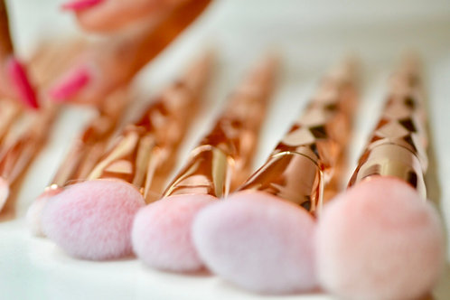 10 Piece Rose Gold Brushes