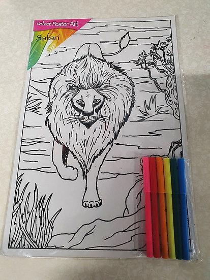 Lion colouring kit