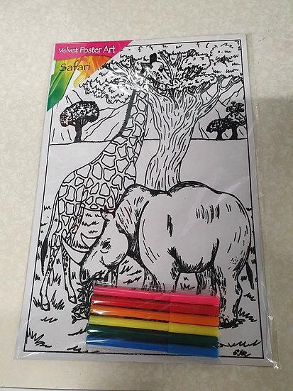 Giraffe and Rhino colouring kit