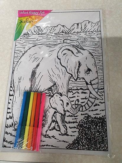 Elephant colouring kit