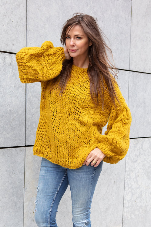 LIMITED EDITION BALLOON sleeve loose fit sweater-MUSTRARD