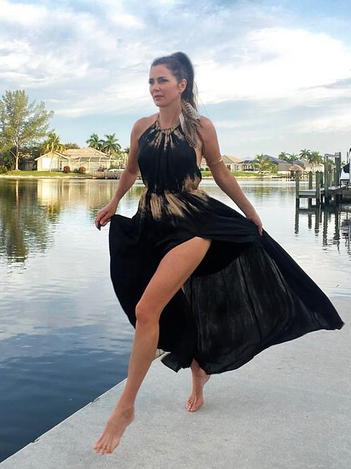 SATIN silky dress-Black/beige
