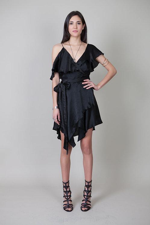 Asymmetrical Wrap Dress-Black