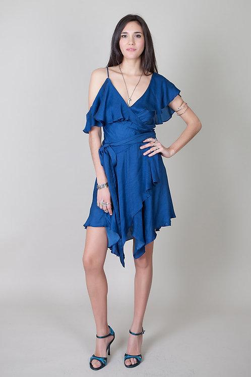 Asymmetrical Wrap Dress-Blue