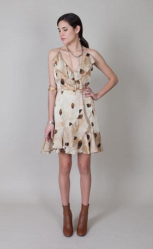 Corset Back Ruffle dress-Cheetah-Hand painted