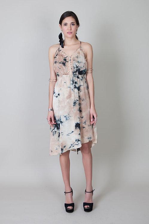 Pipin Silky Dress-Beige/Black