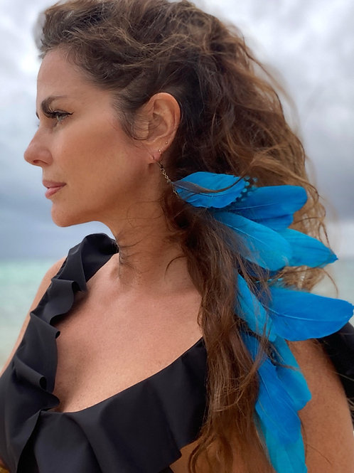 MASSIVE FEATHER earring- Blue