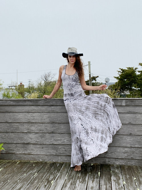 HAND PAINTED long stretchy dress