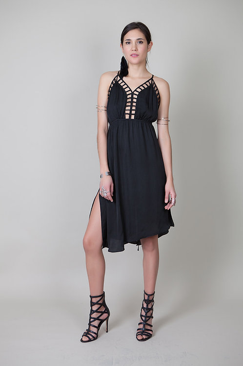 Pipin Silky Dress-Black