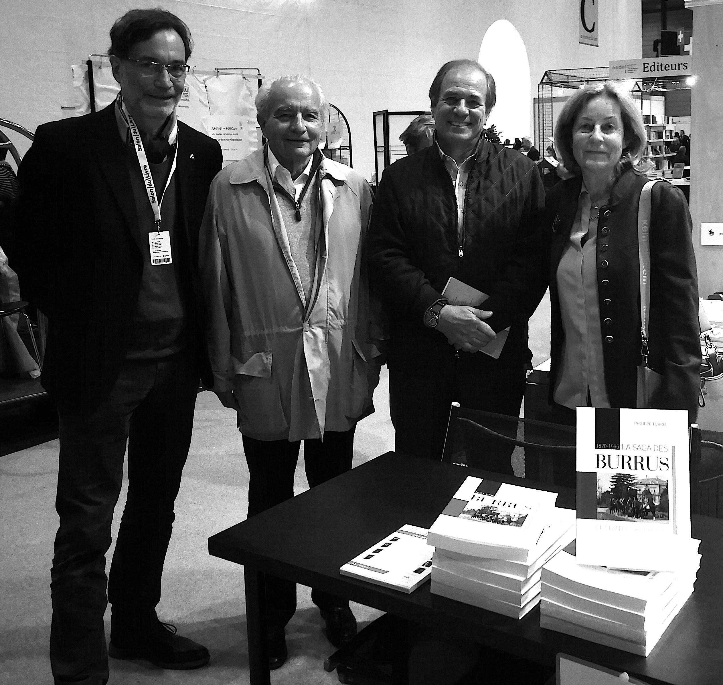 Dédicace salon de Genève avec les commanditaires du livre, Yves et Ghislain Burrus, Solange Demole
