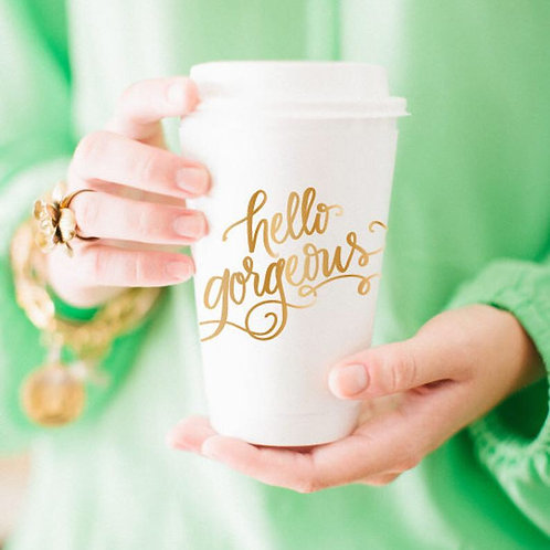 To-Go Coffee Cups | Hello Gorgeous (gold)