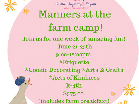 Manners at the farm camp!