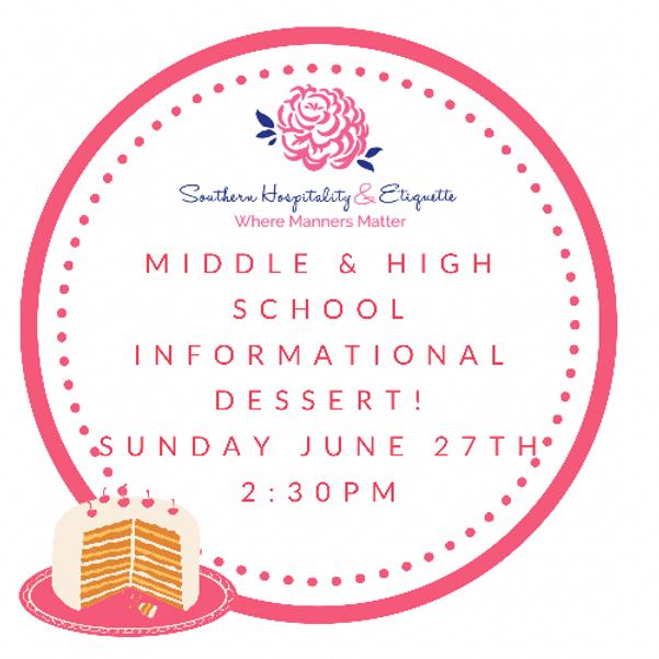 Parent informational dessert