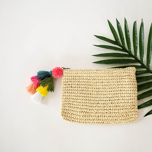 Raffia Zip Top Clutch