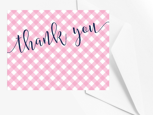 Pink gingham Thank you card