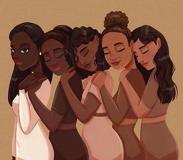 women of color hugging