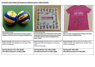 110th Anniversary Celebration Dinner – Silent Auction (autographed volleyball)