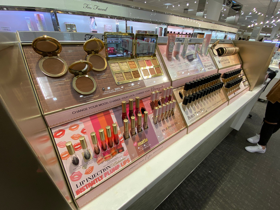 Beauty Gondola Updates - Photographic Printing - Acrylic Product Templates and Hardware - Too Faced Cosmetics at Nordstroms
