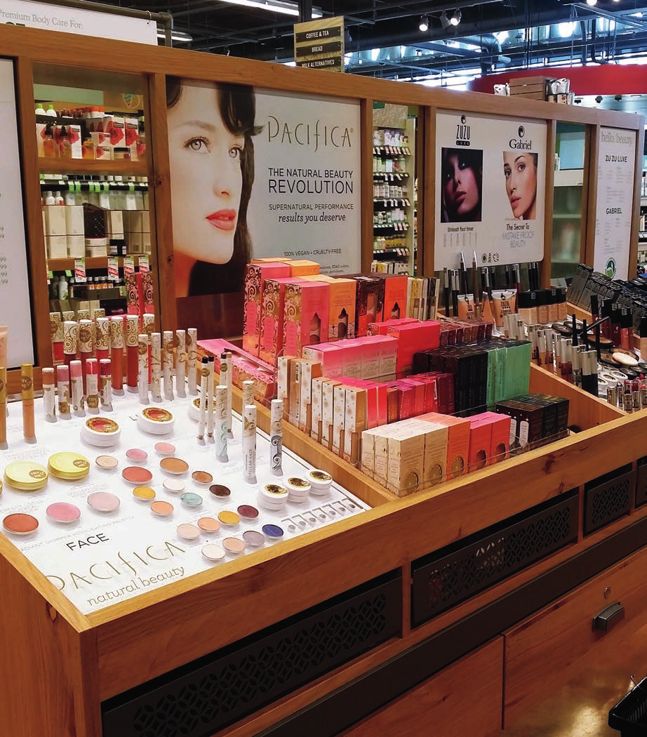 Beauty Gondola Updates - Acrylic Product Pedestals - Magnetic Graphics - Trapped Graphics - Whole Foods Market