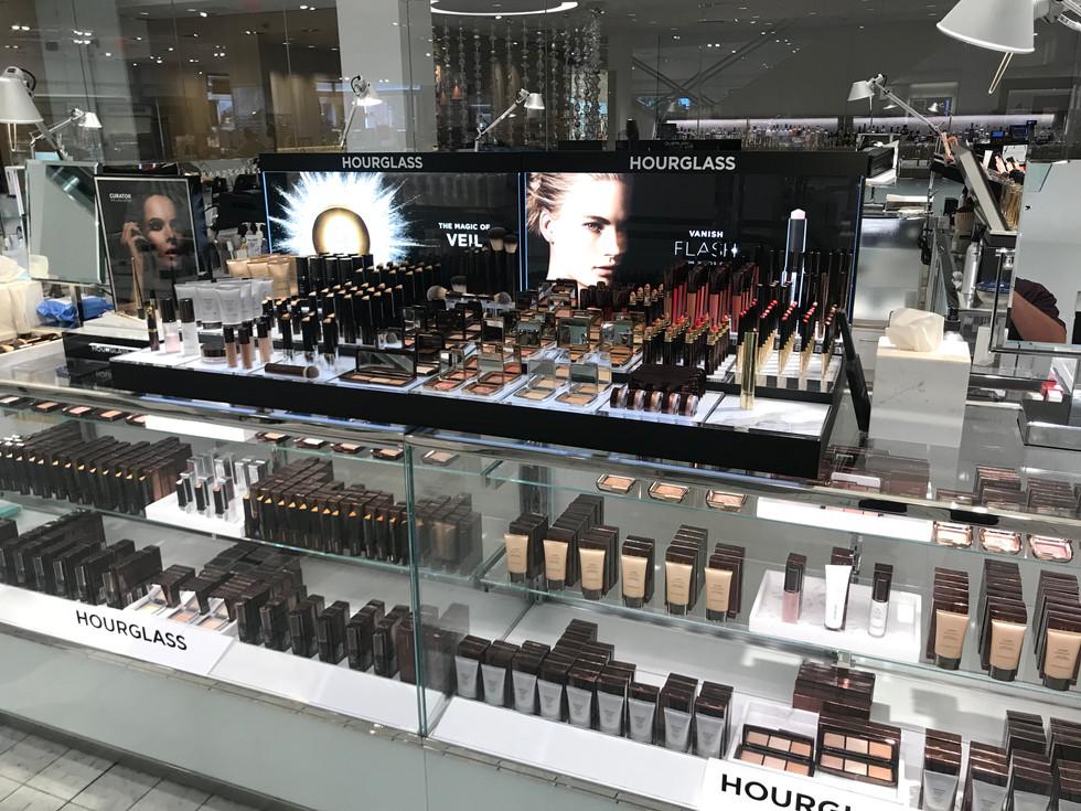 Luxury Beauty Display Updates - Duratrans Graphics - Acrylic Product Pedestals - Hourglass Cosmetics at Neiman Marcus