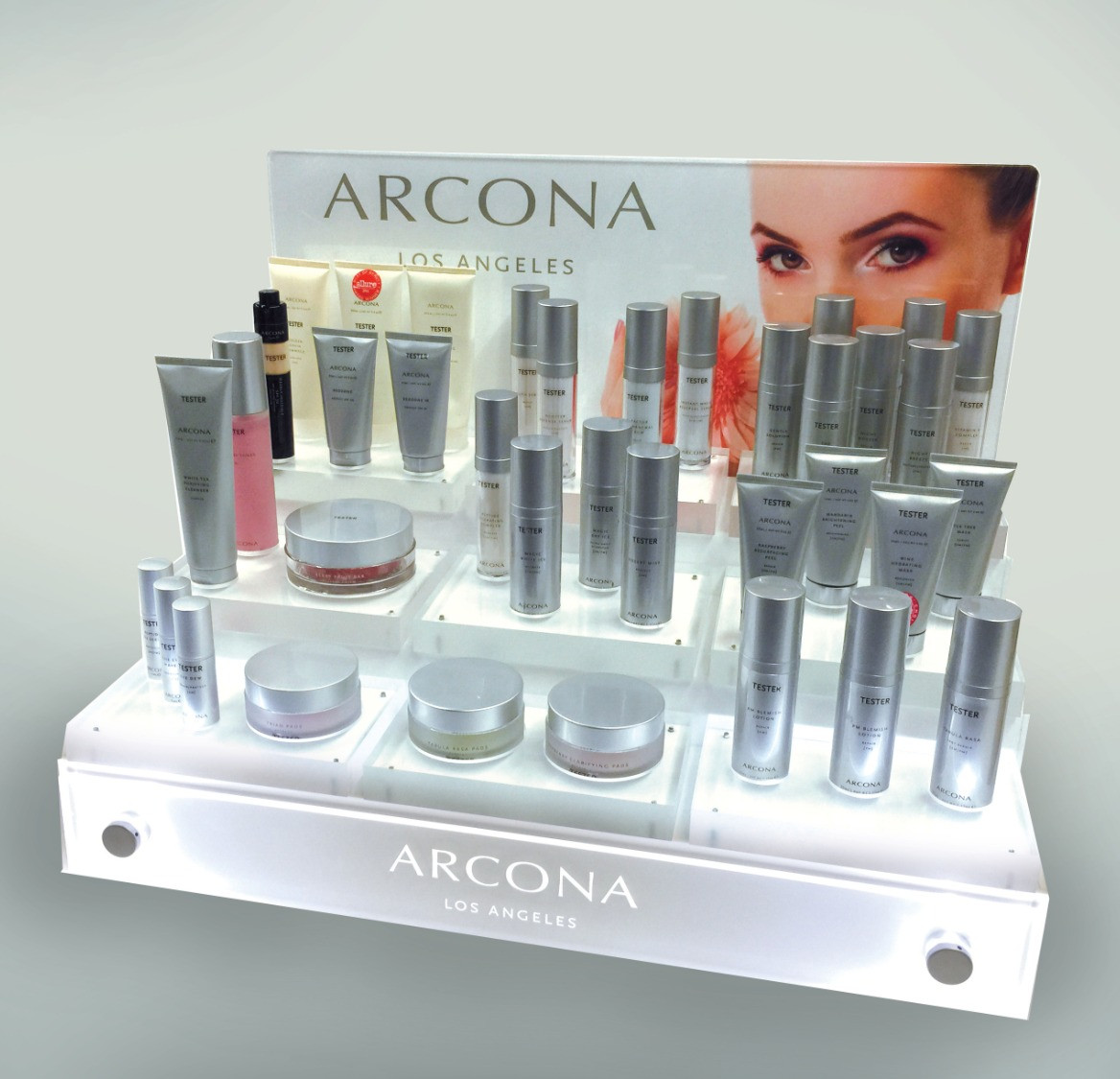 ... Illuminated Skincare Display ...