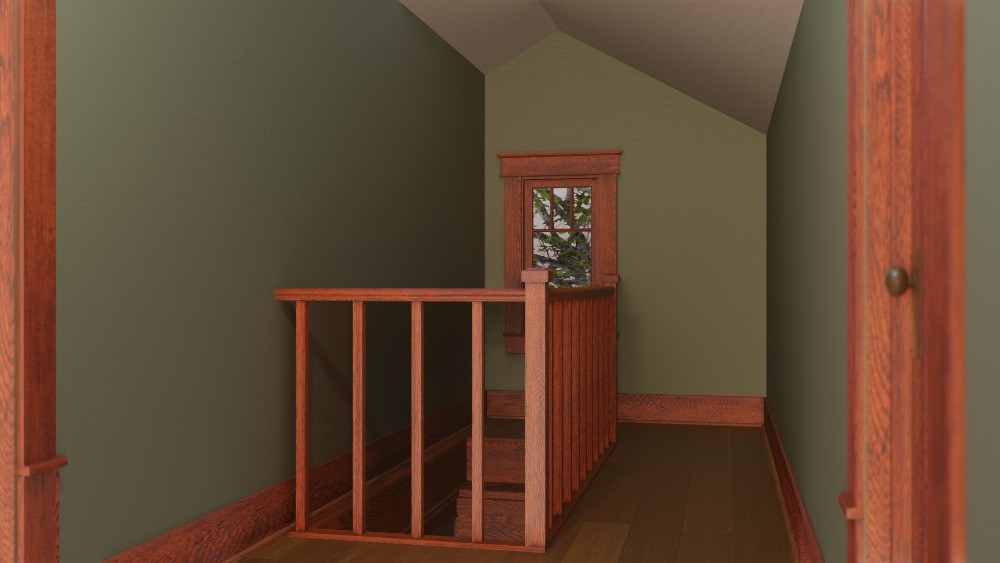 3D Craftsman Bungalow House - Hallway View to Stairs