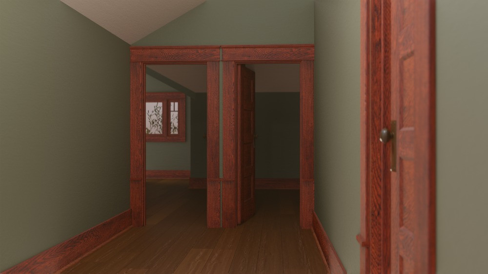 3D Craftsman Bungalow House - 2nd Floor Hallway