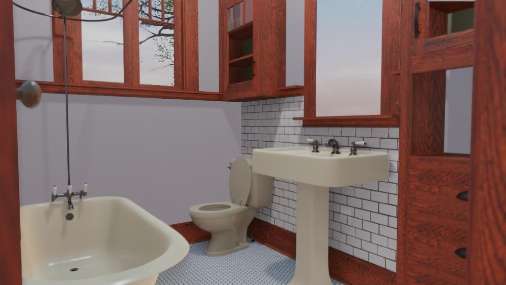 3D Craftsman Bungalow House - Bathroom View
