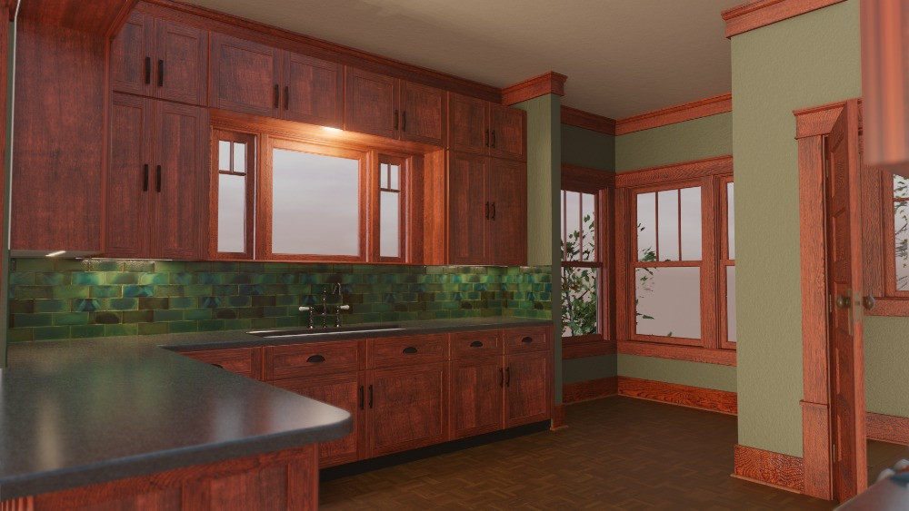3D Craftsman Bungalow House - Kitchen View