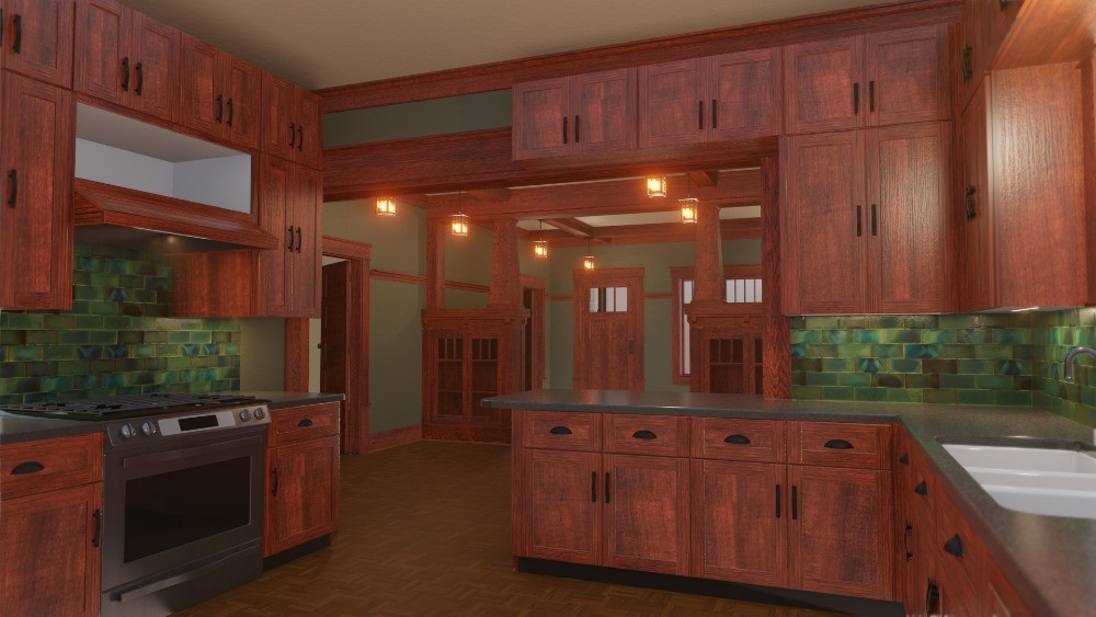 3D Craftsman Bungalow House - View From Breakfast Nook