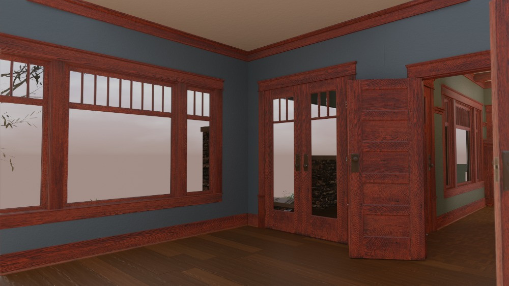 3D Craftsman Bungalow House - View to French Doors.
