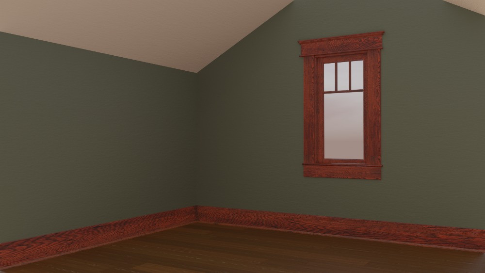 3D Craftsman Bungalow House - Right Bedroom View