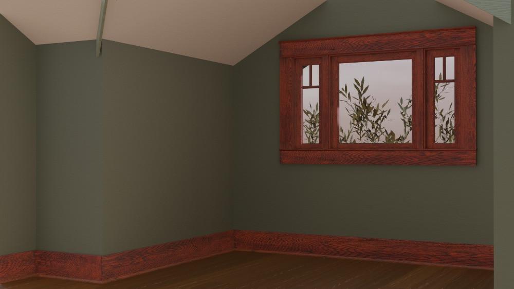 3D Craftsman Bungalow House - Left Bedroom View