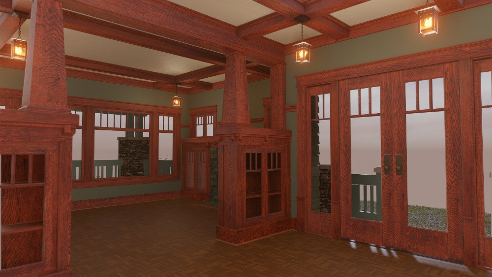 3D Craftsman Bungalow House - View from Dining Room