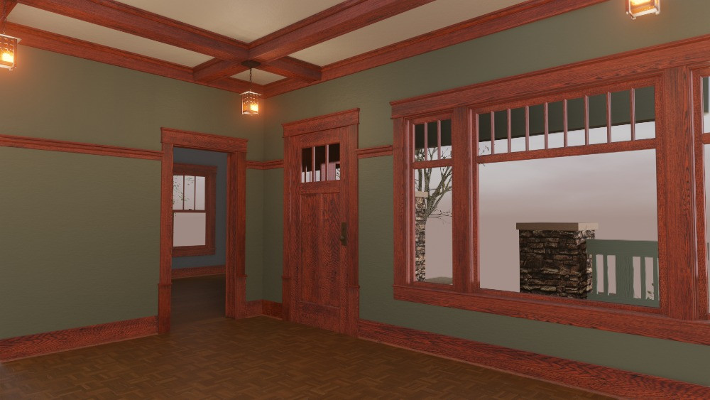 3D Craftsman Bungalow House - Living Room View