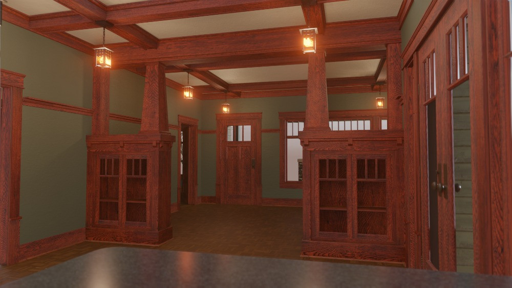 3D Craftsman Bungalow House - View From Kitchen