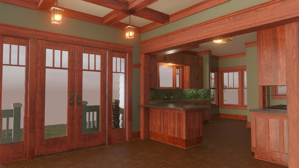 3D Craftsman Bungalow House - Dining Room View