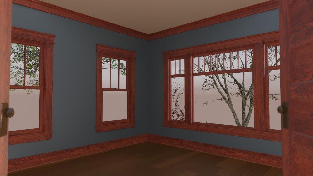 3D Craftsman Bungalow House - Front Bedroom View