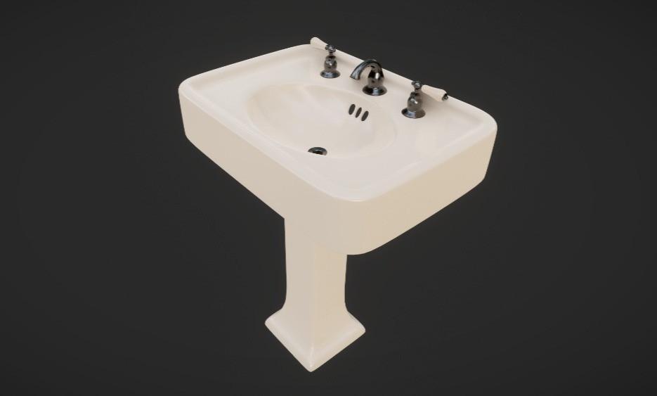 3D Vintage Pedestal Sink