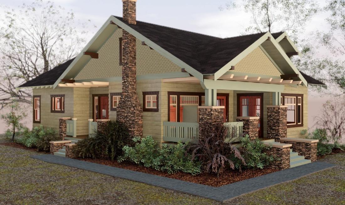 3D Craftsman Bungalow House - Exterior Progress