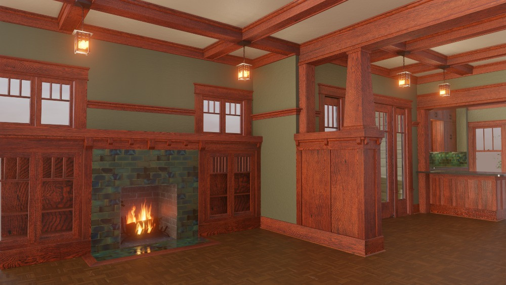 3D Craftsman Bungalow House - Entrance View of Living Room