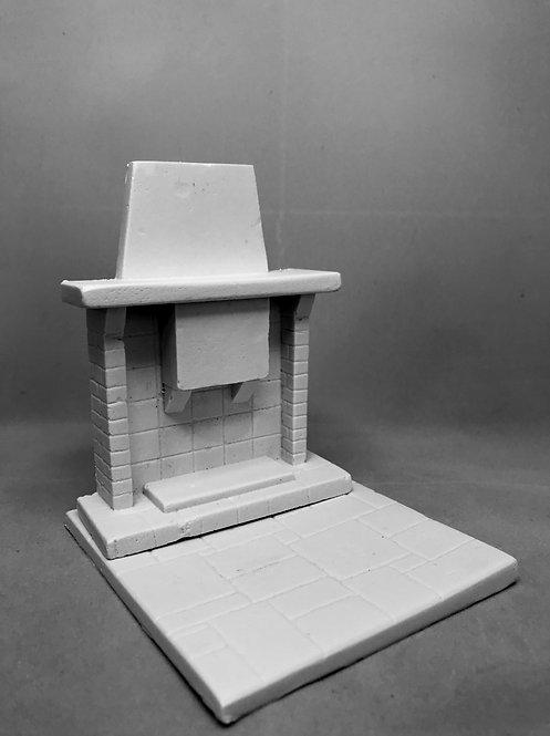 Stone and Brick Fireplace