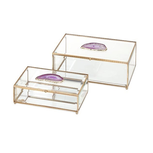 Brianna Pink Agate Glass Boxes