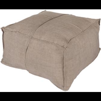 Big E Solid Linen Ottoman