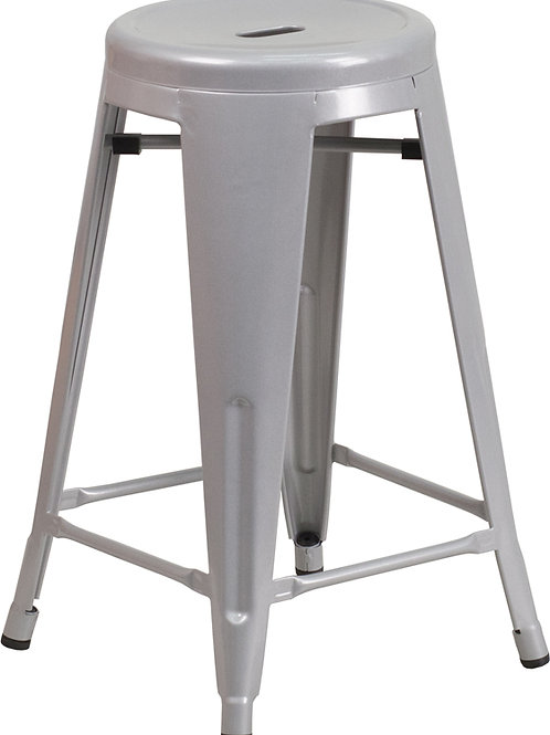 Backless Silver Metal Indoor/ Outdoor Counter Stool