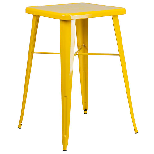 Yellow Square Metal Indoor/ Outdoor Bar Height Table