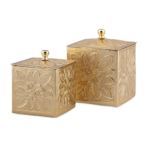 Belle Gold Embossed Boxes, Set of 2